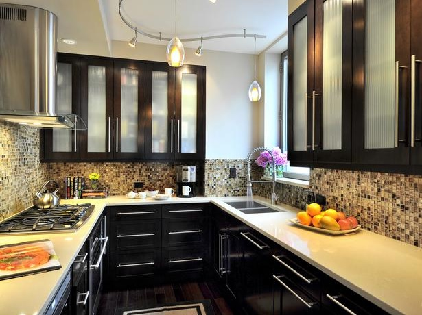 Small Kitchen Remodel Ideas With Reflective Glass Mosaics Tile On Backsplash Part 70