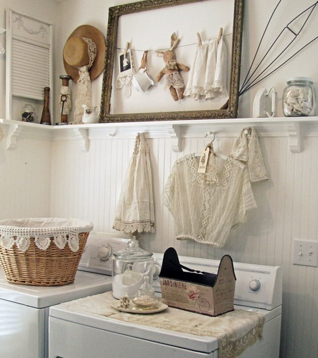 Vintage Laundry Room Decor With Vintage Laundry Hampers
