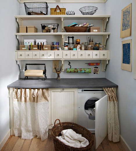 Vintage laundry room wall decor ideas for Laundry room shelving