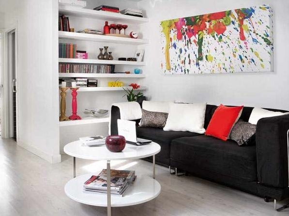 White Small Living Room Ideas With Black Sofa And Abstract Painting On Wall Decolover Net