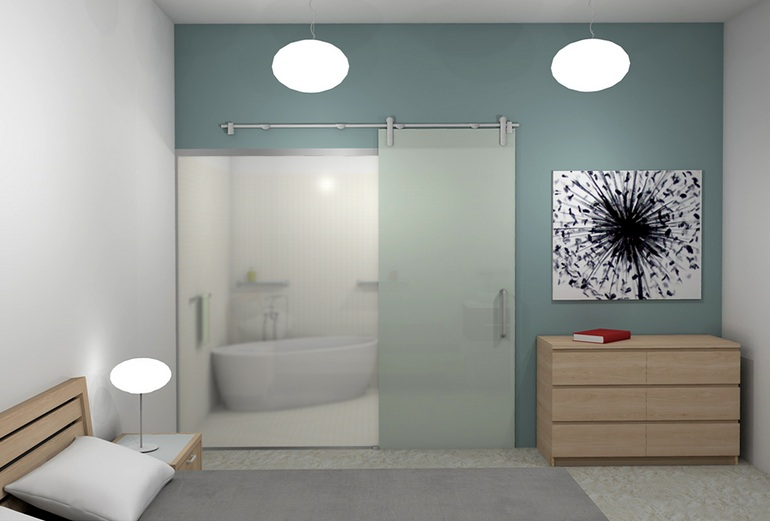 Transparent bathroom sliding glass door with steel barn door Bathroom door designs with glass