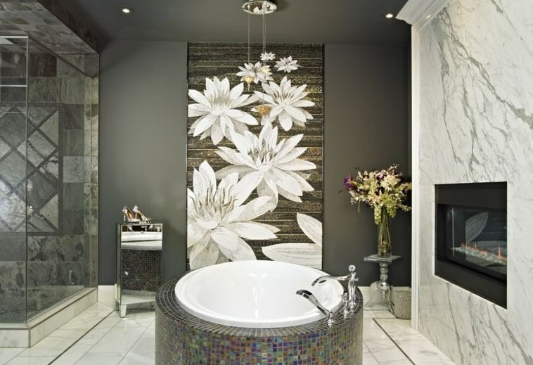 Bathroom Art Ideas With White Flower Wallpaper
