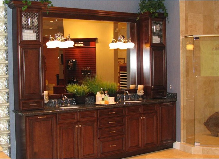 country style bathroom cabinets double sink with framed mirror