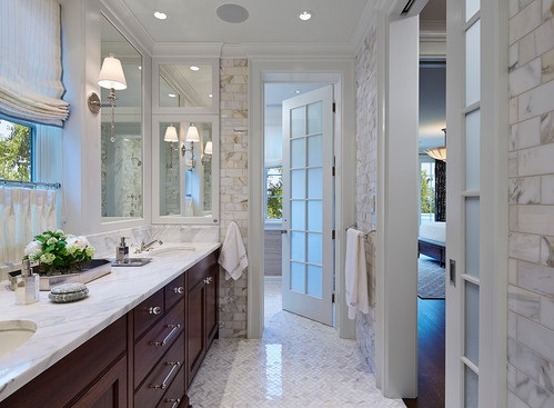Bathroom entry French doors with frosted glass in traditional ...
