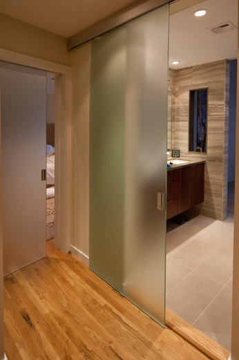 Frosted glass sliding barn door style for bathroom entry - Bathroom doors with frosted glass ...