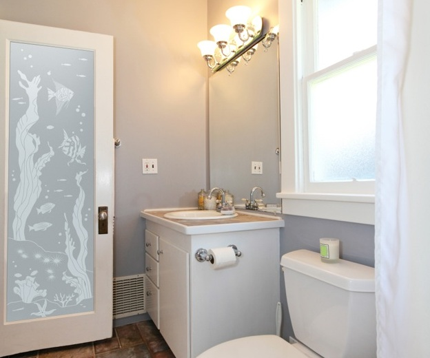 Frosted glass sliding barn door style for bathroom entry - Frosted glass interior bathroom doors ...