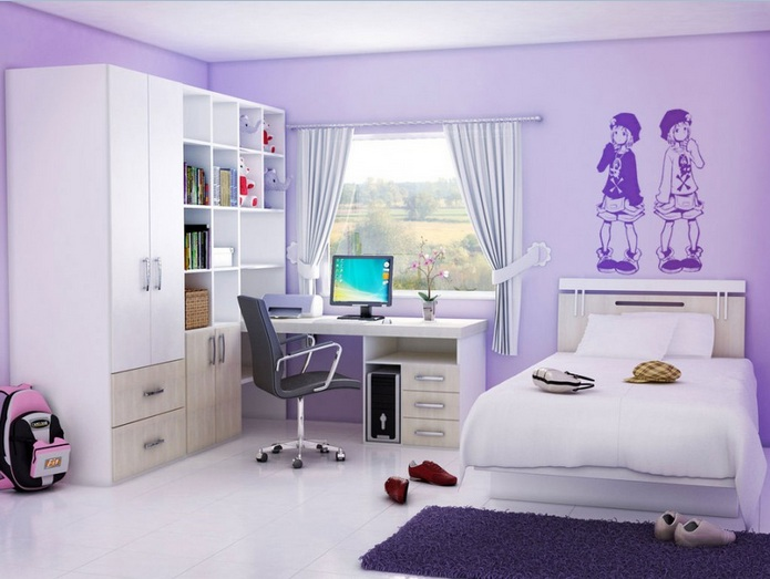 bedroom color ideas for teenage girls with white furniture - Bedrooms With Color