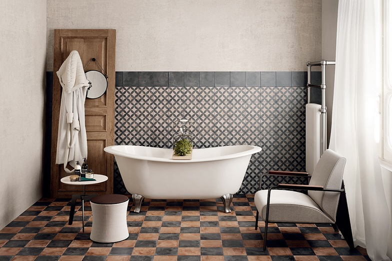 Merveilleux Black And Brown Vintage Bathroom Floor Tile Ideas