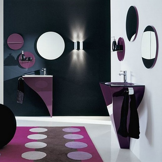 Navy blue and white paint color for small bathroom Purple and black bathroom ideas