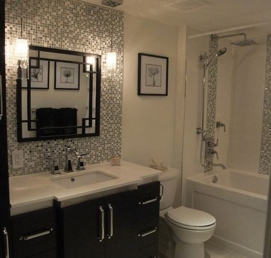 White Small Tile Backsplash With Decorative Mirror For Small Bathroom
