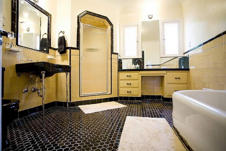 Classic mosaic as vintage bathroom floor tile ideas for Yellow and black bathroom ideas