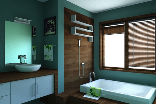 black and blue wall decor for small bathroom