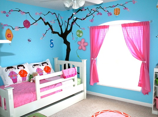 blue and pink kids bedroom ideas