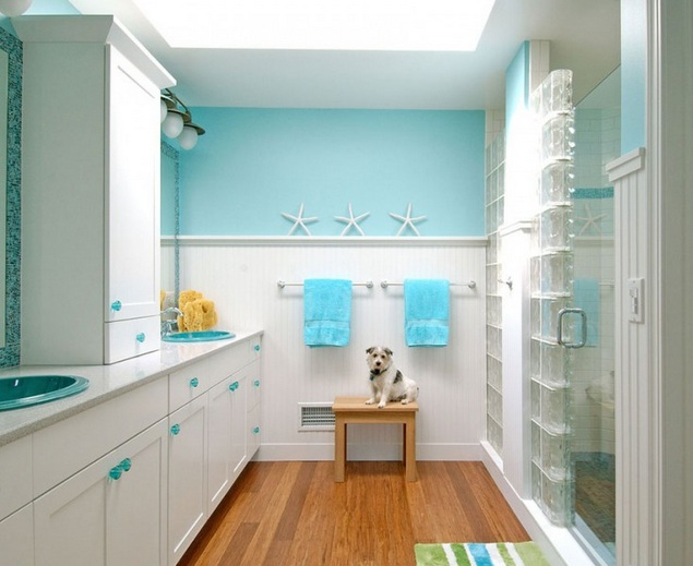 Blue Bathroom Colors With White Cabinets For Small Bathroom