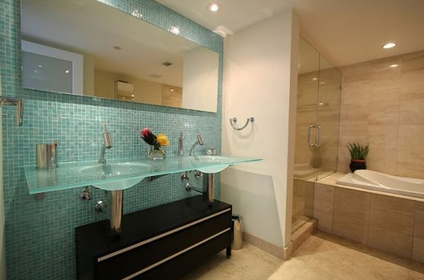 blue decorative glass tile for small bathroom backsplash ideas