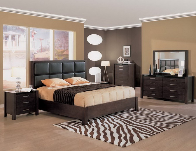 Soft brown bedroom colors with black furniture for Dark brown bedroom designs