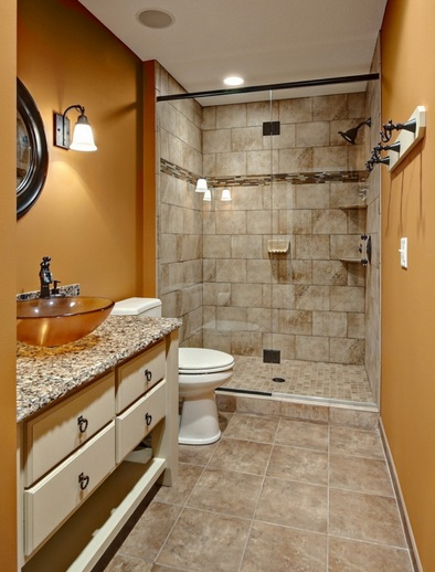 Blue and brown bathroom color for small bathroom wall | Decolover.net
