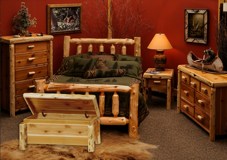 Cedar Traditional Bedroom Furniture Set For Rustic Bedroom