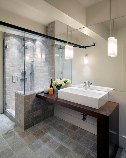 Modern Simple Bathroom Design : Contemporary bathroom pedant lighting ideas for small