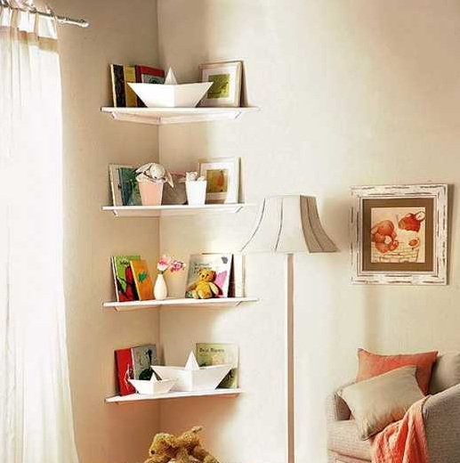 Corner shelf ideas for small bedroom storage solution | Decolover.net