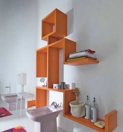 Creative open shelving for bathroom decorating ideas on a for Creative bathroom decor ideas