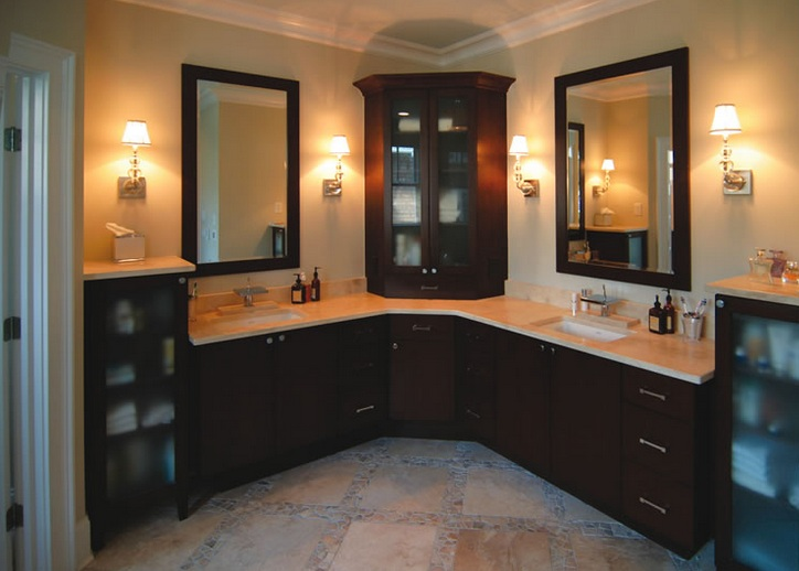 Custom l shaped bathroom cabinets double sink for L shaped master bathroom layout