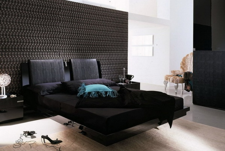 Dark brown bedroom colors with beautiful black furniture design ...