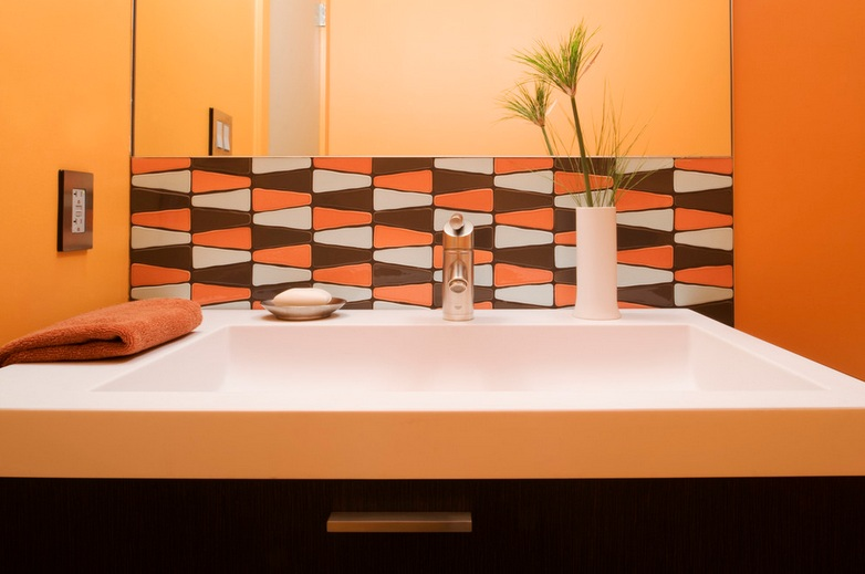 decorative orange tile for small bathroom backsplash ideas