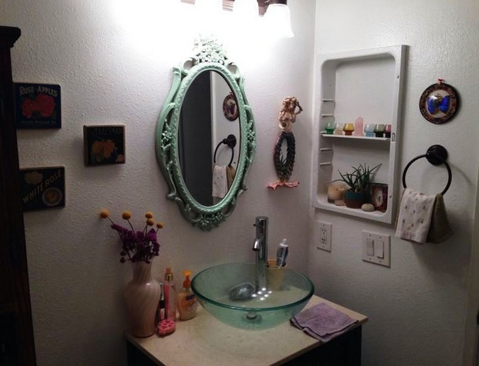 Small craft mirrors for bathroom decorating ideas on a Decorate a large wall cheaply