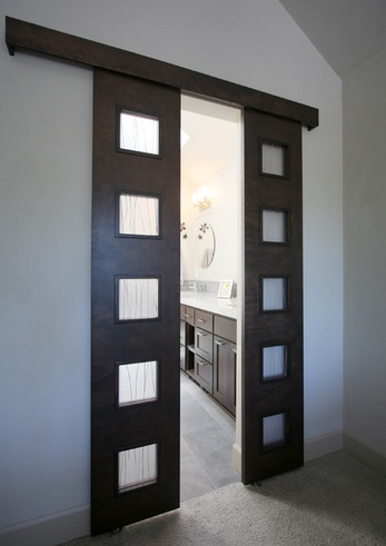 Frosted Glass Sliding Barn Door Style For Bathroom Entry