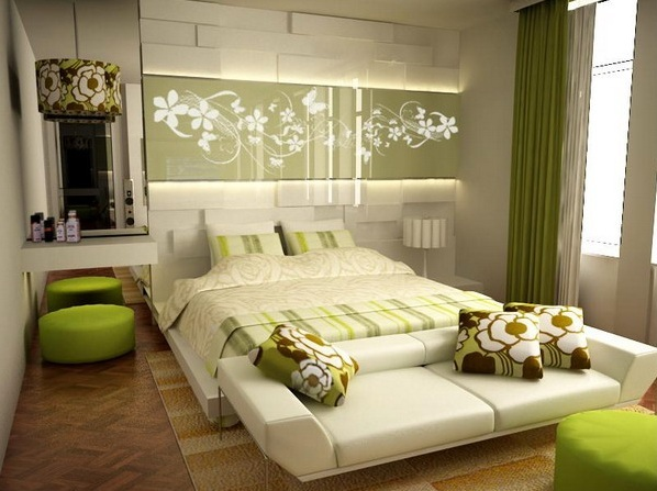 Elegance bedroom wall color with green bedding set | Decolover.net