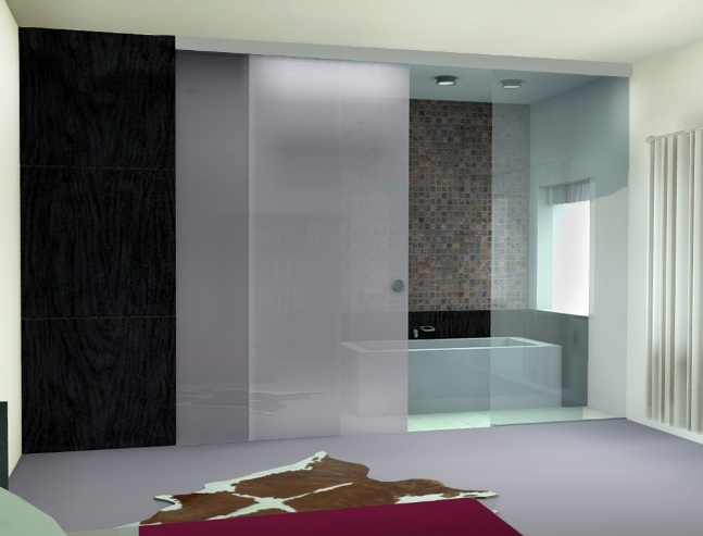 Black Frame Bathroom Sliding Gl Doors With Frosted