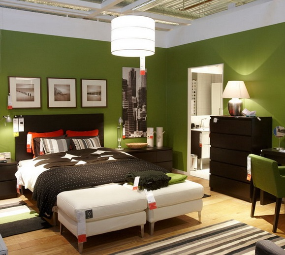 Full Green Bedroom Color Ideas With Nice Decoration