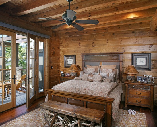 Full wooden rustic bedroom decor ideas with ceiling fans | Decolover.net
