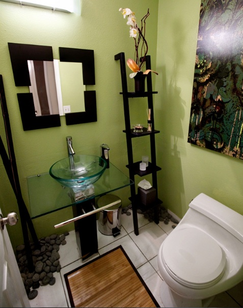 21 bathroom colors for small bathrooms samples and ideas for Green color bathroom design