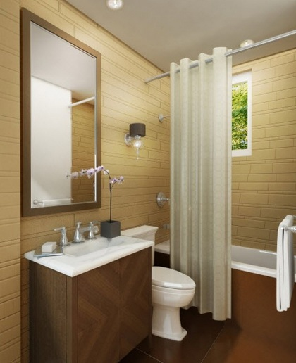 Light brown wall tile color for small bathroom remodel | Decolover.net