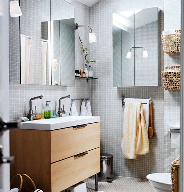 Grey small bathroom wall tile ideas