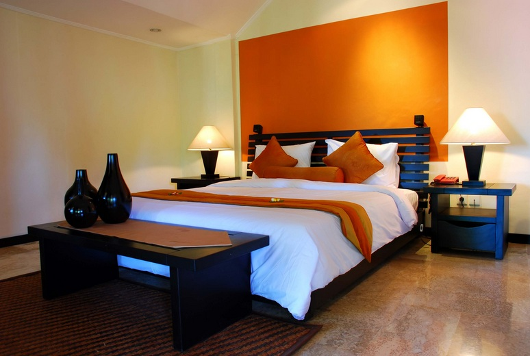 Light Orange Headboard Area Bedroom Colors With Black Furniture
