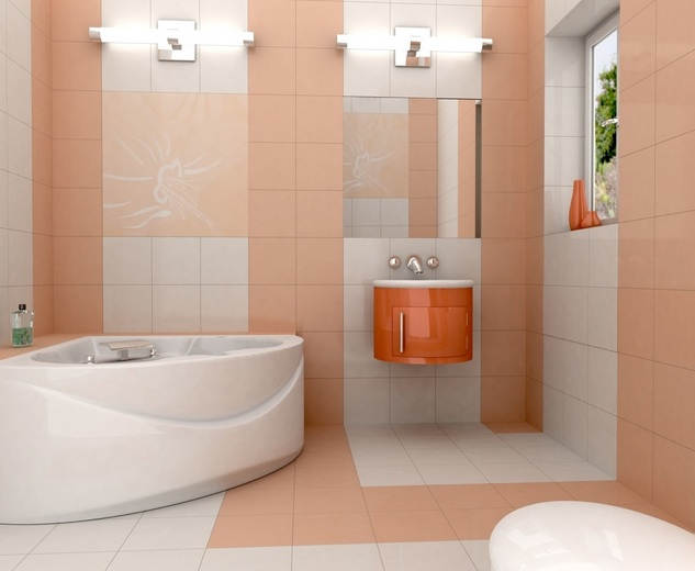 Light Orange Tile For Wall Small Bathroom Color