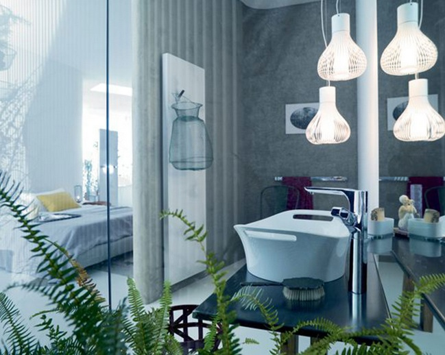 Stylish pendant lights bathroom lighting ideas for small for Contemporary bathroom lighting ideas