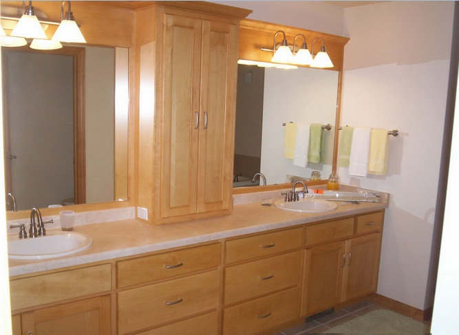 country style bathroom cabinets double sink with framed mirror and