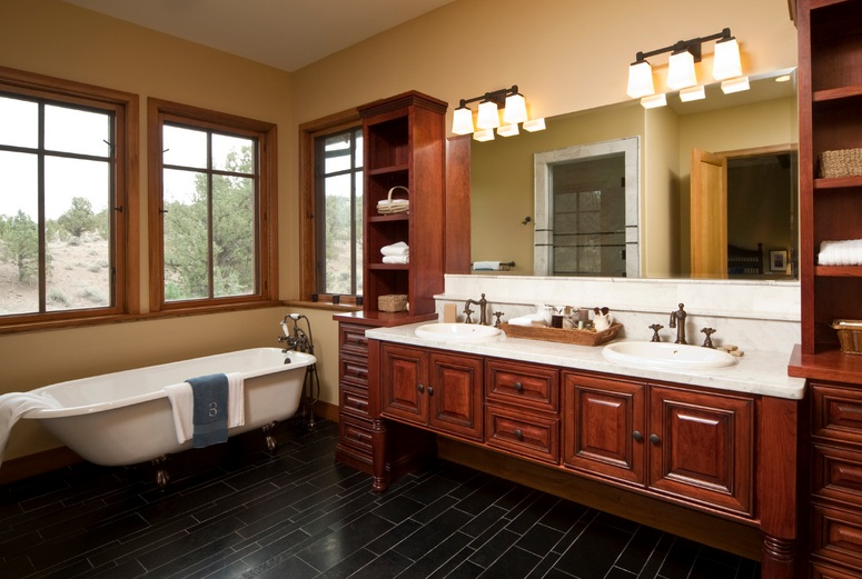 Country style bathroom cabinets double sink with framed for L shaped bathroom designs