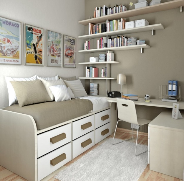 Open shelves wall bedroom storage ideas DIY | Decolover.net