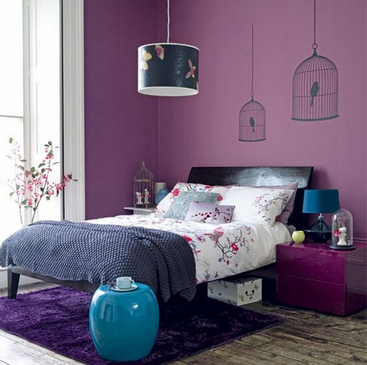 Stylish and relaxing bedroom colors with black furniture Purple and black bedroom