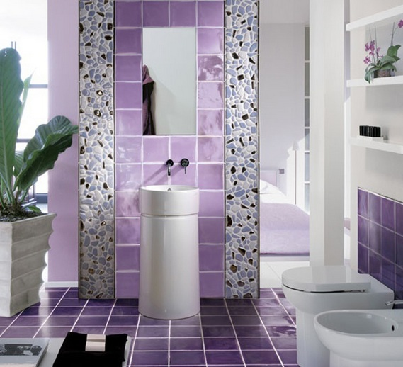 Purple Wall Tile Bathroom Colors For Small Decor