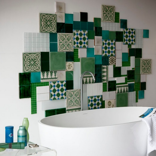 Random pattern and size tile for small bathroom backsplash ...
