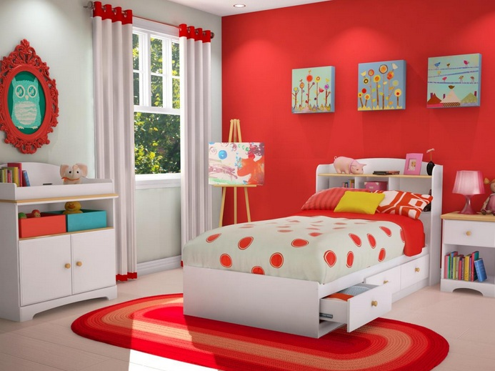 Red and white kids bedroom ideas for Children bedroom ideas