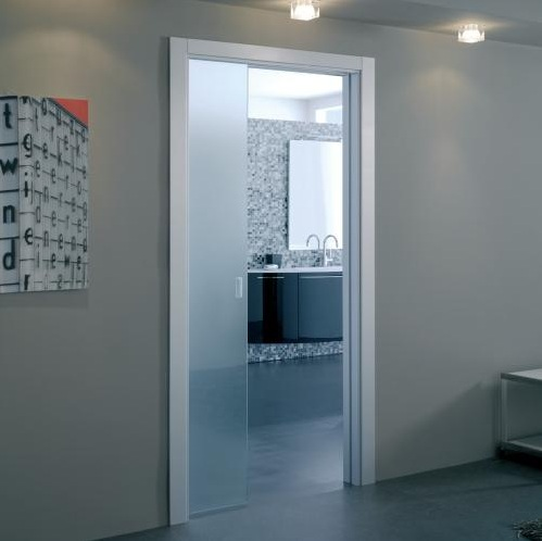 Trendy bathroom sliding glass doors for decorating your for Pocket sliding glass doors