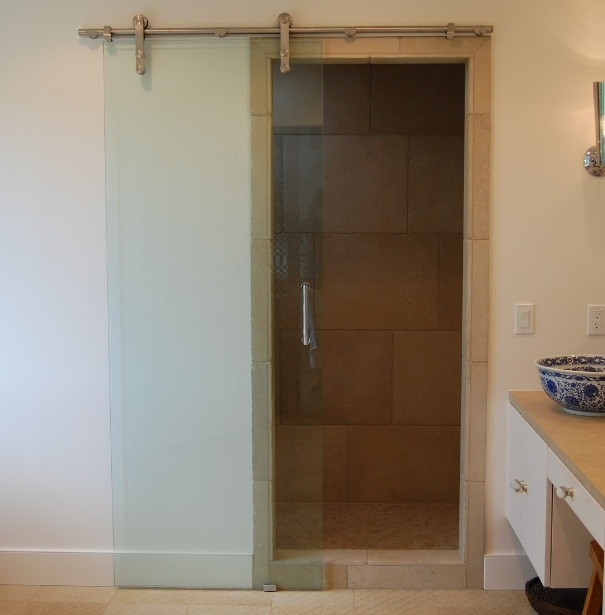Traditional Bathroom Sliding Glass Doors With Wooden Frame