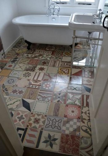 Unique Tile Pattern As Vintage Bathroom Floor Tile Ideas